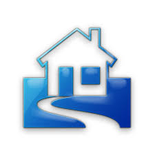 home blue simple home with yard icon 078555 icons etc
