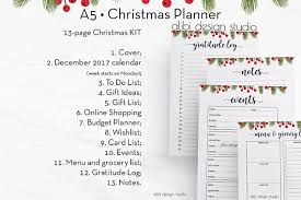 christmas planner a5 planner inserts printable planner