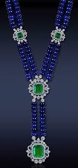 sapphire beads necklace images Sapphire bead necklace with emeralds and diamonds set in platinum jpg