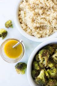 roasted broccoli quinoa salad with honey mustard dressing fooduzzi