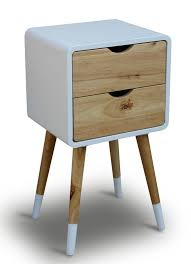side table 2 drawers bedside table night stand white 2 drawers vintage retro chic