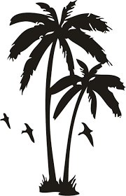 flying birds and palm tree tattoos design