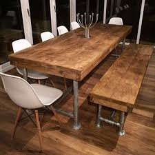 Industrial Dining Room Tables Rustic Industrial Dining Table Attractive And Bench Entrancing