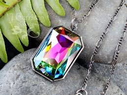 swarovski crystal stone necklace images Dark rainbow gunmetal necklace color changing swarovski crystal jpg