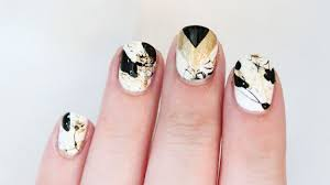 gold and black splatter and chevron nail art totallycoolnails