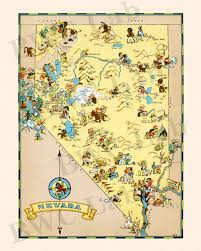 Nevada City Map Pictorial Map Of Nevada Colorful Fun Illustration Of Vintage