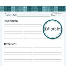 printable recipes templates recipe card full page fillable printable pdf instant download