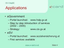 slide 1 smart cards for egovernment and health insurance status