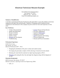 Electrical Engineer Resume Examples Resume Electrical Technician Resume Sample