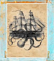 player piano paper print upcycled to octopus attack ship antique