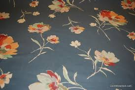 Vintage Drapery Fabric Z112 Vintage English Chintz Watercolor Style Blue Floral Pattern