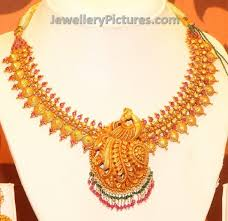 antique gold necklace images Antique gold peacock necklace jewellery designs jpg