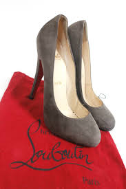 authentic christian louboutin brown taupe suede pumps heel 38 uk 5