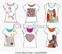 clip art vector of t shirts design templates with funny paintings