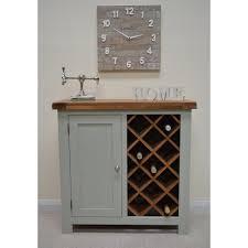 sea green painted oak wine drinks cabinet wine rack
