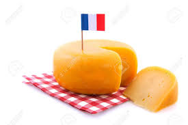 French And American Flags Whole French Cheese With Piece And Flag Stock Photo Picture And