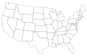 blank elementary map of us