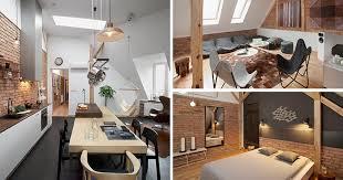 cuisine brique déco en poutres apparentes et briques exposées dans un loft en pologne