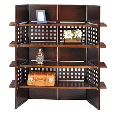 Shelf Room Divider Cappuccino 4 Panel Folding Screen With Display Shelves Hayneedle