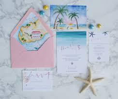 Beach Wedding Invitation Cards Watercolor Beach Wedding Invitations With A Wedding Map Bohemian