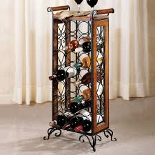awesome corner wine rack design with mahogany wooden frames and