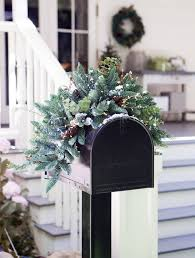 Christmas Mailbox Decoration Greenery by Mountain Meadow Christmas Mailbox Swag Balsam Hill