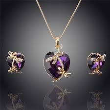 jewelry necklace earring sets images Women 39 s crystal dragonfly pendant necklace and earring set jpg