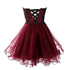 new arrival ball gown short mini burgundy homecoming dress with