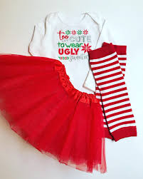 To Cute for Ugly Sweaters Baby Girl Christmas outfit with tutu and