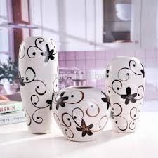 Hand Painted Vase 3 Piece Black White Hand Painted Decorative Pottery Vase Set