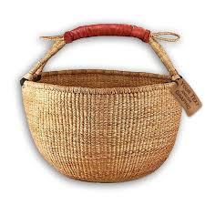 wicker basket with leather handles amazon com bolga market tote basket fair trade natural color