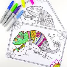 colouring pages grown ups chameleons red ted art u0027s blog