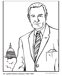 lyndon b johnson coloring picture free and printable