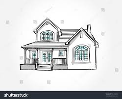 house architecture drawing sketch house architecture drawing free hand stock vector 701318968