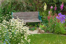 cottage garden flowers cottage garden with bench and mixed flowers stock photo picture