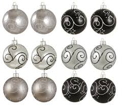 black and silver ornaments