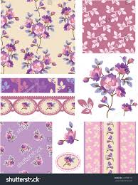 shabby chic purple floral vector seamless stock vector 144708118