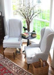 custom slipcovers for chairs striped wingback chair covers navy blue ticking stripe fabric used