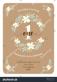 Baby First Birthday Invitation Card Cute Rustic Frame Hand Drawn Flowers Stock Vector 449150983