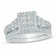 zales outlet engagement rings 1 ct t w princess cut frame tri sides bridal set in