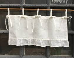 Country Ruffled Valances Linen Curtains Cottage Kitchen Ruffle Valance Simple Rustic