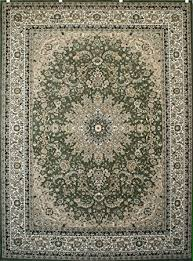Green Area Rug New City Green Traditional Isfahan Wool