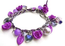 stainless steel charm bracelet images Custom neon purple stainless steel and polymer clay charm jpg