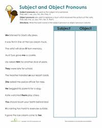 subject and object pronouns worksheets english and language