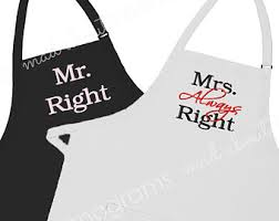his and hers items mr right and mrs always right aprons set of 2 aprons his