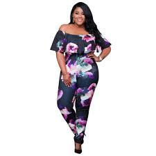 jumpsuit for plus size plus size shoulder floral print jumpsuit addicted2fashion