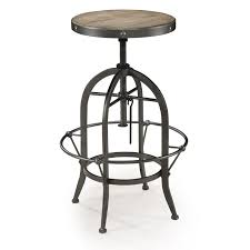 furniture black iron and wood seat swivel bar stool with four