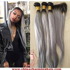 ombre weave 1b grey ombre hair 3 bundles with silver grey lace