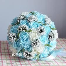 Blue Wedding Bouquets Beautiful Wedding Bouquet Artificial 30 Rose Flowers Blue Bridal