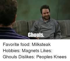 Meme Magnets - ghouls favorite food milksteak hobbies magnets likes ghouls dislikes
